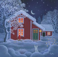 Eva Melhuish, Santa Peers in Window of Welcoming Home Christmas Scenes, Noel Christmas, Retro Christmas, Christmas Pictures, Winter Christmas, Christmas Cards, Holiday, Swedish Christmas, Scandinavian Christmas
