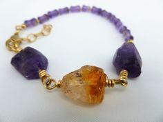 Chunky Bracelet,Amethyst and Citrine chunky bracelet,Gold filled bracelet,Rough cut nugget beads bracelet,February birthstone bracelet by IgnisDesignStudio on Etsy