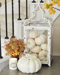 Is it just me or are these mini white pumpkins one of the best things about fall? I don't know about you, but I've started quite the collection over here. Anyway, I hope your Thursday is off to a great start! Thanksgiving Decorations, Seasonal Decor, Halloween Decorations, Thanksgiving 2020, House Decorations, Holiday Decor, Fall Home Decor, Autumn Home, Interiores Shabby Chic
