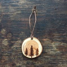 Wood burned Trio of Evergreen Trees // Magnet or by GracemereWoods