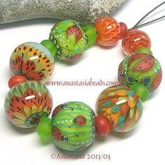 "lampwork by anastasia | Anastasia Lampwork Beads 8 ""Ladybug Garden"" SRA | eBay"