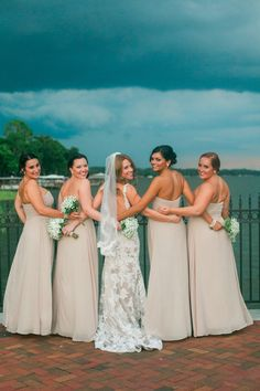 Neutral bridesmaid dress idea - long, ivory chiffon Stella York gowns {Tavares Pavilion on the Lake}