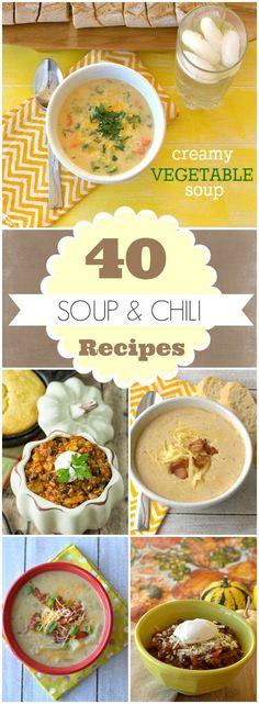 40 Soup & Chili Recipes Round Up | fall recipes   recipe
