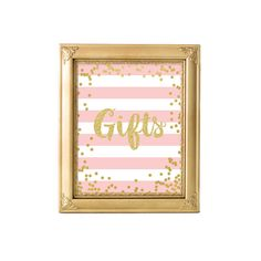 Printable Pink and Gold Gifts Sign 8x10, Instant Download, Birthday Sign, Pink and Gold, Party Decor, SKU: AB01
