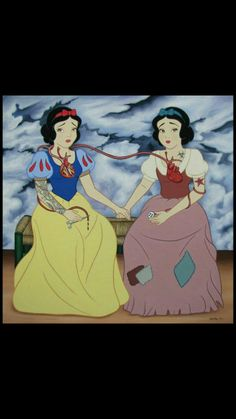 Snow White being portrayed like The Two Fridas by Frida Kahlo