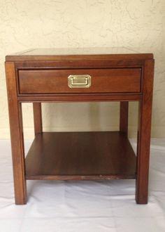 Vintage Ethan Allen Campaign Style Side Table by Halfpastnine, $215.00