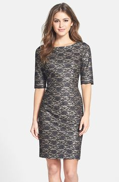 28327cee07f Eliza J Metallic Lace Sheath Dress (Regular  amp  Petite) available at   Nordstrom