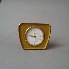 Ruhla alarm clock, DDR, 50s. | Zegarek, budzik,, Ruhla, DDR, lata 50. | buy on Patyna.pl | #forsale #vintage #vintagefinds #vintageshop #vintagelove #retro #old #design #home #midcenturymodern #want #amazing #home #inspiration #kitchen #decoration #furniture #alarm #clock #small #yellow #ruhla #ddr #50s #1950s #dizmo Vintage Love, Vintage Shops, Electronics Gadgets, Midcentury Modern, Alarm Clock, Retro, 1950s, Stuff To Buy, Inspiration