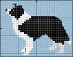 Border Collie Black and White Cross Stitch / Knitting Pattern Cross Stitch Borders, Cross Stitch Animals, Cross Stitch Charts, Cross Stitch Designs, Cross Stitching, Cross Stitch Embroidery, Embroidery Patterns, Cross Stitch Patterns, Border Embroidery