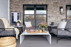 40 Chic Ideas for Patios and Porches on a Budget | HGTV Small Outdoor Spaces, Small Patio, Contemporary Dining Sets, Farmhouse Style Table, Pergola Pictures, Outdoor Rocking Chairs, Living Roofs, Modern Side Table, Porch Decorating