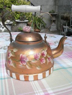Vintage Copper Kettle HP Pink Roses  I have one similar to this.