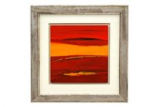 #Abstract oil painting in reds and mustard by Frederique Marteau in #antique gilt wood frame  France, contemporary