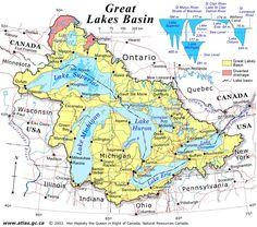 great lakes 1850 | Regional Great Lakes Basin Map