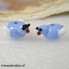Homemade lampwork glass beads Birds www.ireneskralen.nl