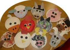 Paper plate farm animals: using the animals from The Big Red Barn by Margaret Wise Brown and taking inspiration from the many wonderful pins found on Pinterest!