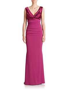 Talbot Runhof - Draped Satin and Crepe Gown