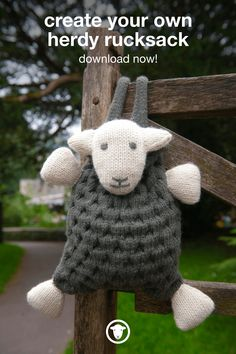 Create your very own cute and lovable herdy rucksack with this downloadable knit pattern. #diy #crafts #downloadandprint #pattern #knitting #backpacks