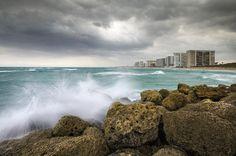 Boca Raton Florida Stormy Weather - Beach Waves Photograph
