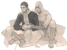 I thought this was so freaking cute and hilarious. Malik Al-Sayf and Altair Ibn-La'Ahad from Assassin's Creed (finally found the artist in the link!)