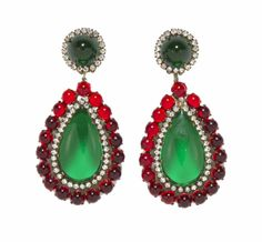 Vintage Kenneth Jay Lane KJL Earrings Red Green by MadgesHatBox, $350.00