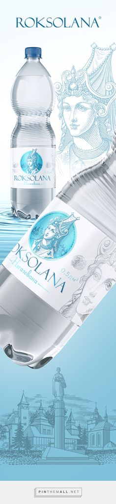 Roksolana on Behance curated by Packaging Diva PD. Brand and packaging design for mineral water Roksolana. Water Packaging, Beverage Packaging, Bottle Packaging, Natural Mineral Water, Drinking Water Bottle, Water Containers, Water Bottle Design, Pet Bottle, Packaging Design
