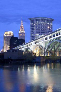 Detroit Superior Bridge over Cuyahoga River, Cleveland, Ohio.