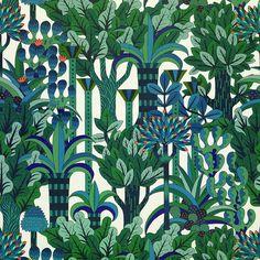 Hermes wallpaper designed by Pierre Marie Textile Prints, Textile Patterns, Textile Design, Print Patterns, Textiles, Floral Patterns, Graphic Patterns, Floral Designs, Fabric Wallpaper
