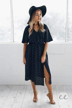 Nikki Midi Dress Navy $54.95