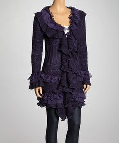 Take a look at this Purple Ruffle Wool-Blend Duster by JohnFashion on #zulily today!