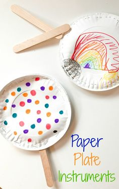 Easy Paper Plate Instruments: A Fun Rainy Day Activity for Kids paper plate crafts paper plate drums paper plate maraca paper plate tambourine popcorn kernel craft easy kids craft. Children's Day Activities, Rainy Day Activities For Kids, Babysitting Activities, Rainy Day Crafts, Multicultural Activities, Toddler Activities, Spring Activities, Activity Days, Indoor Activities