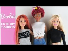 Do you LOVE BARBIE Doll Fashion? Learn how to make 3 super cute T-shirts! Look out for the fashion shoot at the end. Supplies: Old T-Shirts Thread Pins Needl. Barbie Dolls Diy, Barbie Top, Diy Barbie Clothes, Diy Doll, Barbie And Ken, Doll Clothes, Doll Crafts, Ooak Dolls, Barbie Sewing Patterns