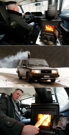pascal prokop - volvo 240 with wood stove.Imagine the look on the face of the air pollution control people here in California. I would pay to see that.