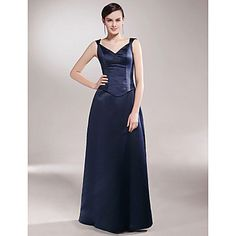 Sheath/ Column V-neck Floor-length Satin Mother of the Bride Dress – USD $ 89.99