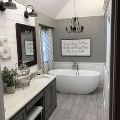 #bathroomenvy I mean that tub #ihearthouses #farmhousebathroomideas #loveit