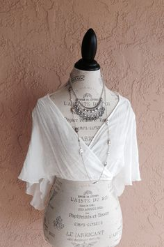 White gauze cape sleeve crop top with open back by BohoAngels, $60.00