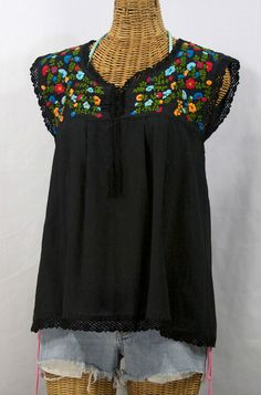 """La Marbrisa"" Embroidered Sleeveless Peasant Blouse Top -Black"