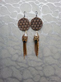 Feather Earrings  Laser Cut Wood Flower of Life by MEDICINAdesigns