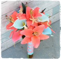 Bouquet made with NNatural Touch Coral and Tiffany Seashell Bouquet. Perfect Silk Wedding Bouquet.
