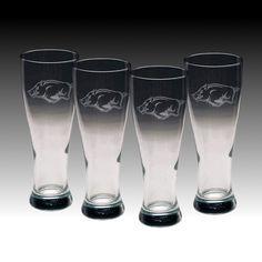 Arkansas Razorbacks Pilsner Glasses Set of 4