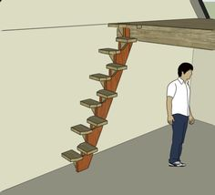 Space saving stair design for tiny house - just add handrail