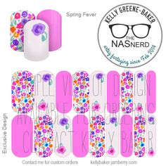 Spring Fever inspired~ Get the Look without the polish! Contact me @ Kelly Greene-Baker/The NAS Nerd on Facebook or email me bluegodiva@gmail.com if interested in designing/ordering a custom nail art studio sheet (NAS) of your own . Curious about Jamberry's 350+ ready-to-go catalog wrap designs, lacquer or gel enamels? Head to kellybaker.jamberry.com ~ DIY nail art, flowers, spring, purple, pink, watercolor, feminine Jamberry Lacquer, Jamberry Nails, Nail Art Diy, Diy Nails, Nail Art Studio, Colorful Nail, Independent Consultant, Spring Fever, Art Flowers