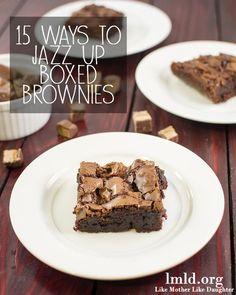 15 ways to jazz up brownies - take your boxed brownies to the next level with these 15 easy tips and tricks to make an even more delicious dessert! (scheduled via http://www.tailwindapp.com?utm_source=pinterest&utm_medium=twpin&utm_content=post827757&utm_campaign=scheduler_attribution)