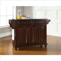Crosley Furniture Cambridge Solid Black Granite Top Kitchen Island in Vintage Mahogany Finish by Crosley Furniture. $449.00. Antique Brass Finish Hardware. Solid Black Granite Top. Solid Hardwood  and  Veneer Construction. Beautiful Raised Panel Doors. Hand Rubbed, Multi-Step Finish. Constructed of solid hardwood and wood veneers, this kitchen island is designed for longevity. The beautiful raised panel doors and drawer fronts provide the ultimate in style to dress up your kitc...