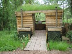 The eco-toilets at Guy Mallinson's woodland carving campsite, Devon, UK