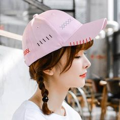 Cross embroidered baseball cap for women pink snapback cap