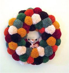 Pom Pom Wreath  - with the sweetest vintage deer