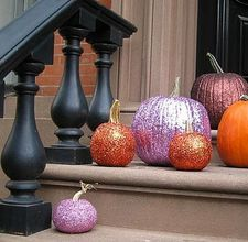 Glitter pumpkins. I sprayed painted mine with glitter paint. It was easier than standard glitter and glue.