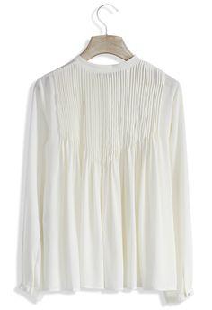 Embrace Pleats Chiffon White Top - Retro, Indie and Unique Fashion