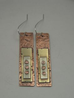 Mixed Metal Riveted Rectangle Earrings, Razor Blade Style - Earrings - Home Mixed Metal Jewelry, Brass Jewelry, Sea Glass Jewelry, Metal Jewellery, Jewellery Earrings, Bullet Jewelry, Jewlery, Bijoux Design, Jewelry Design