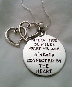@Allison Gruidel and @Laura Sims Cute Sisters Quote Side by Side or Miles Apart by TempleStamping, $24.99